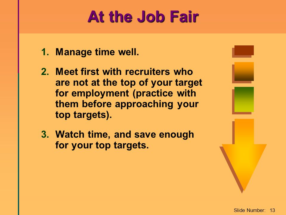 Slide Number: 13 At the Job Fair 1.Manage time well. 2.Meet first with recruiters who are not at the top of your target for employment (practice with