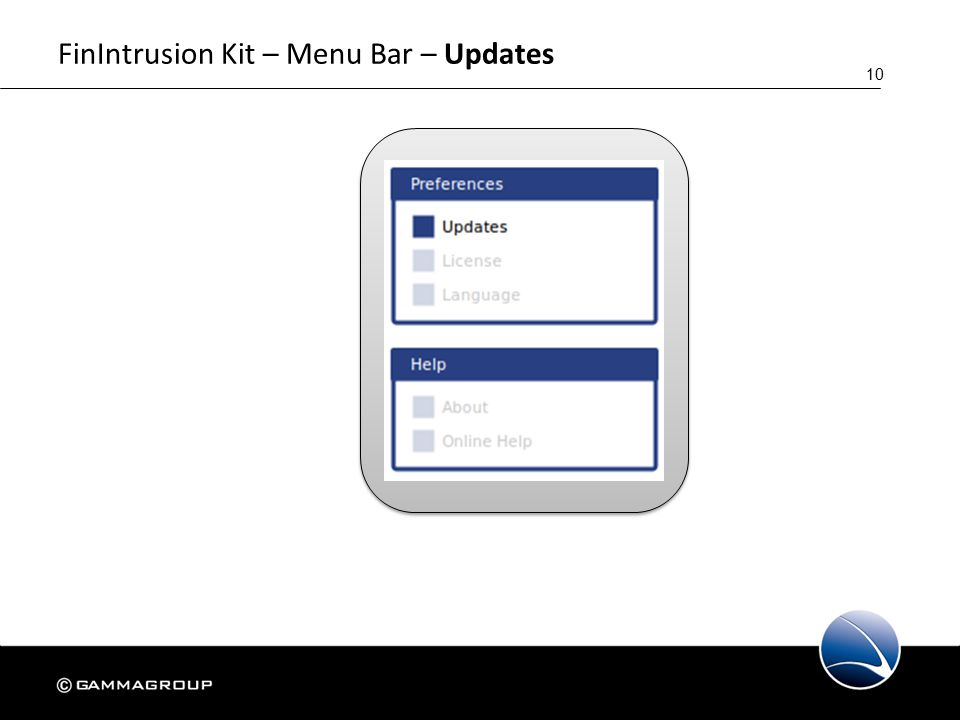 10 FinIntrusion Kit – Menu Bar – Updates