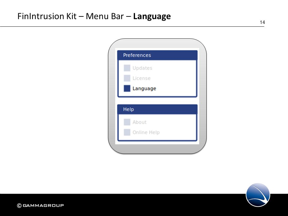 14 FinIntrusion Kit – Menu Bar – Language