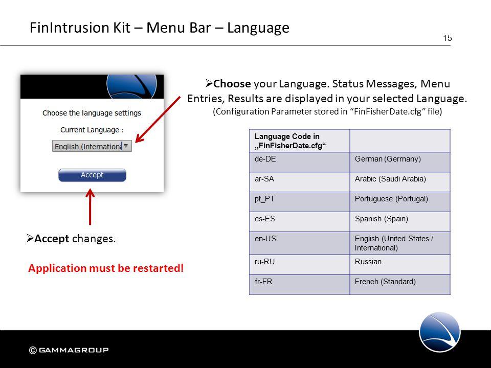 15 FinIntrusion Kit – Menu Bar – Language  Choose your Language.