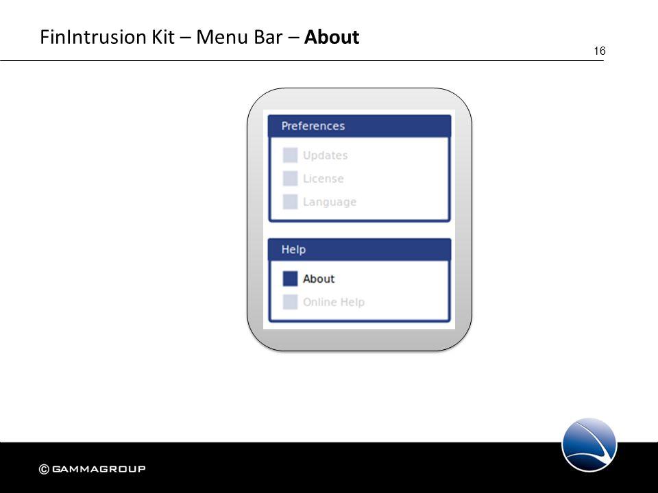 16 FinIntrusion Kit – Menu Bar – About