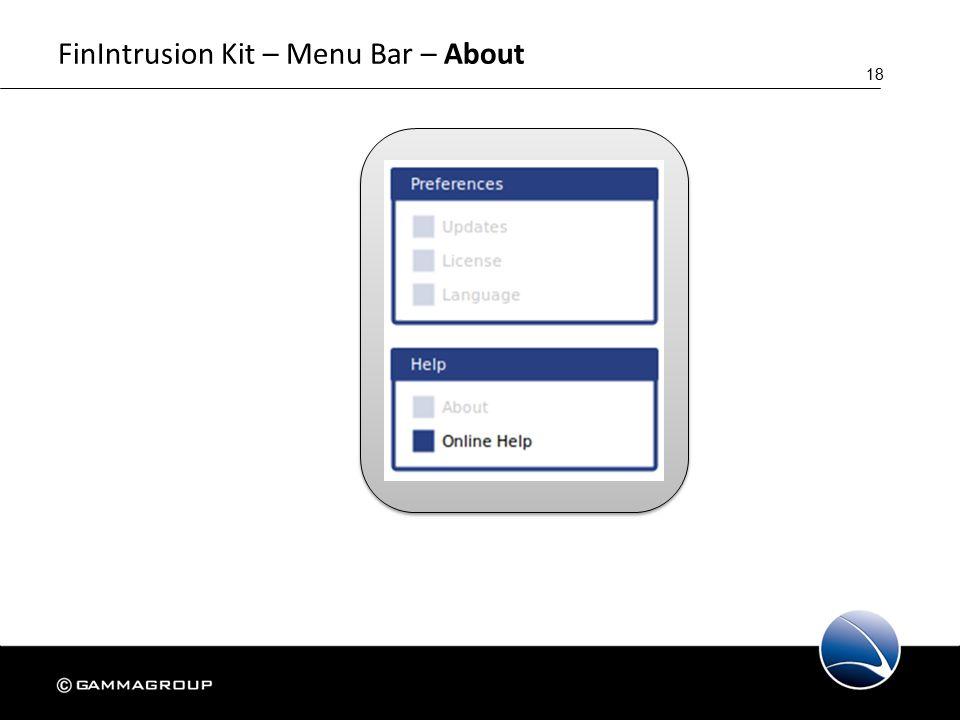 18 FinIntrusion Kit – Menu Bar – About
