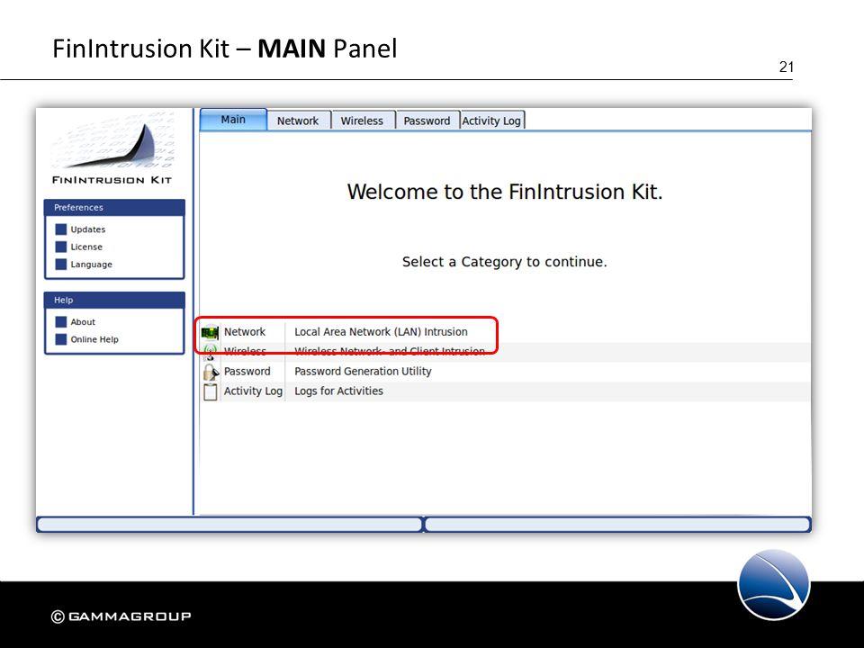21 FinIntrusion Kit – MAIN Panel