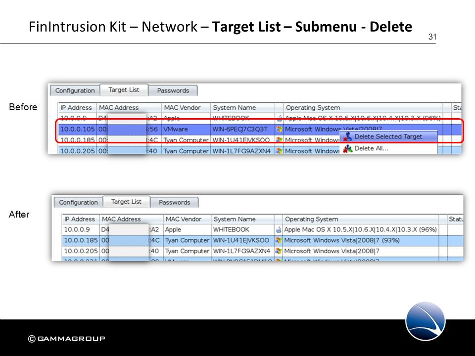 31 FinIntrusion Kit – Network – Target List – Submenu - Delete Before After