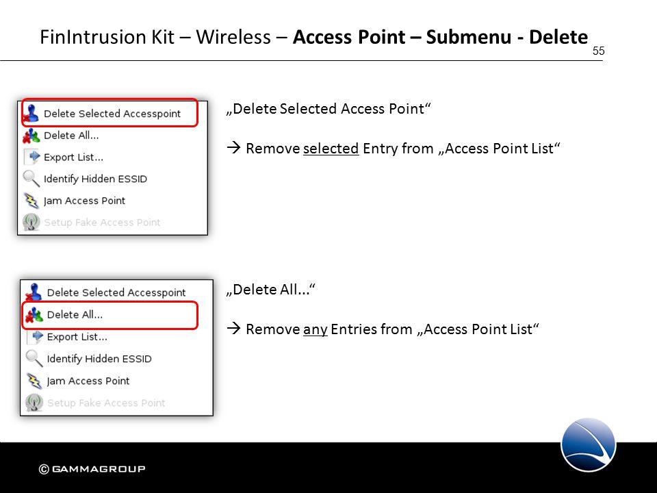"55 FinIntrusion Kit – Wireless – Access Point – Submenu - Delete ""Delete Selected Access Point  Remove selected Entry from ""Access Point List ""Delete All...  Remove any Entries from ""Access Point List"