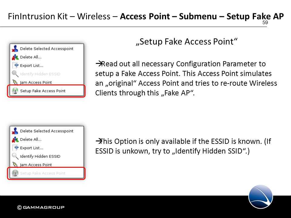 """59 FinIntrusion Kit – Wireless – Access Point – Submenu – Setup Fake AP """"Setup Fake Access Point  Read out all necessary Configuration Parameter to setup a Fake Access Point."""