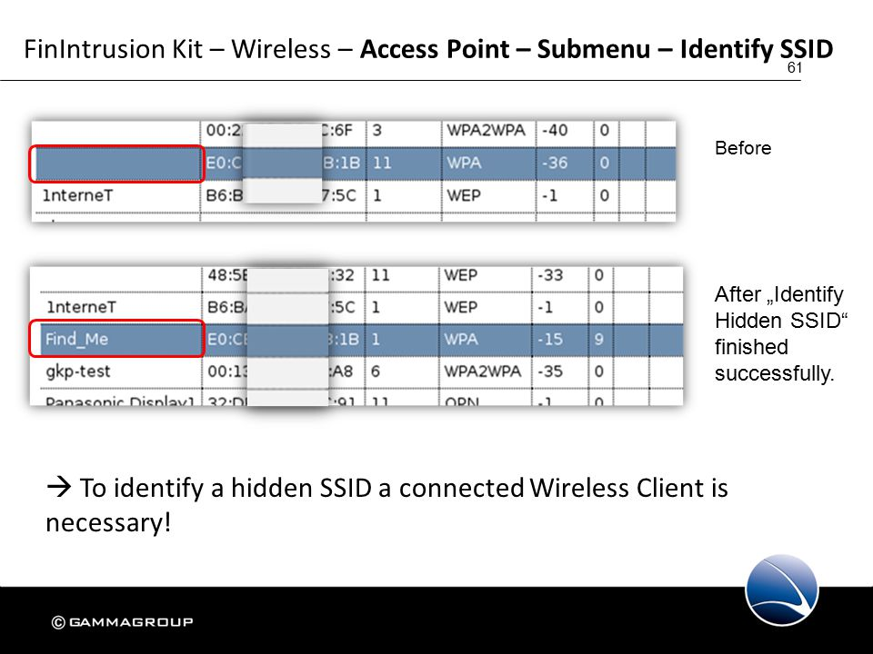 61 FinIntrusion Kit – Wireless – Access Point – Submenu – Identify SSID  To identify a hidden SSID a connected Wireless Client is necessary.