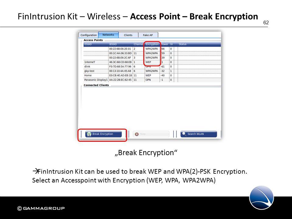 "62 FinIntrusion Kit – Wireless – Access Point – Break Encryption ""Break Encryption  FinIntrusion Kit can be used to break WEP and WPA(2)-PSK Encryption."