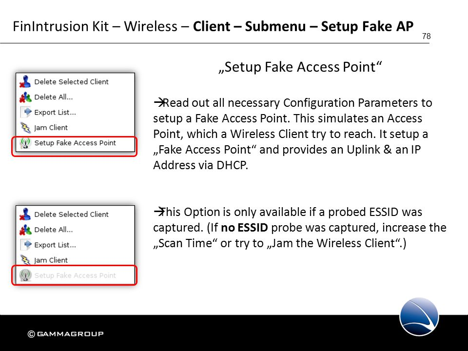 """78 FinIntrusion Kit – Wireless – Client – Submenu – Setup Fake AP """"Setup Fake Access Point  Read out all necessary Configuration Parameters to setup a Fake Access Point."""