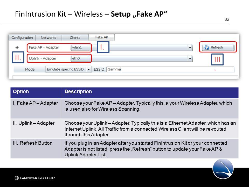 "82 FinIntrusion Kit – Wireless – Setup ""Fake AP I."