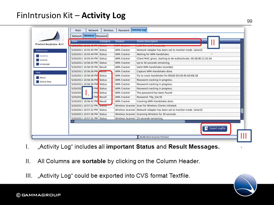 """99 FinIntrusion Kit – Activity Log I.""""Activity Log includes all important Status and Result Messages."""