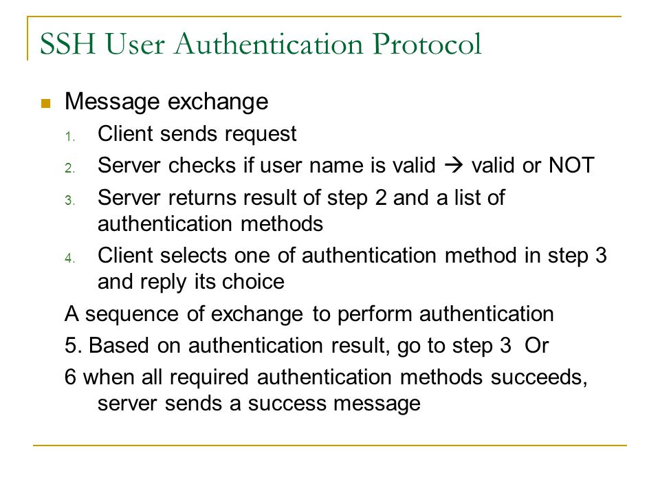 SSH User Authentication Protocol Message exchange 1.