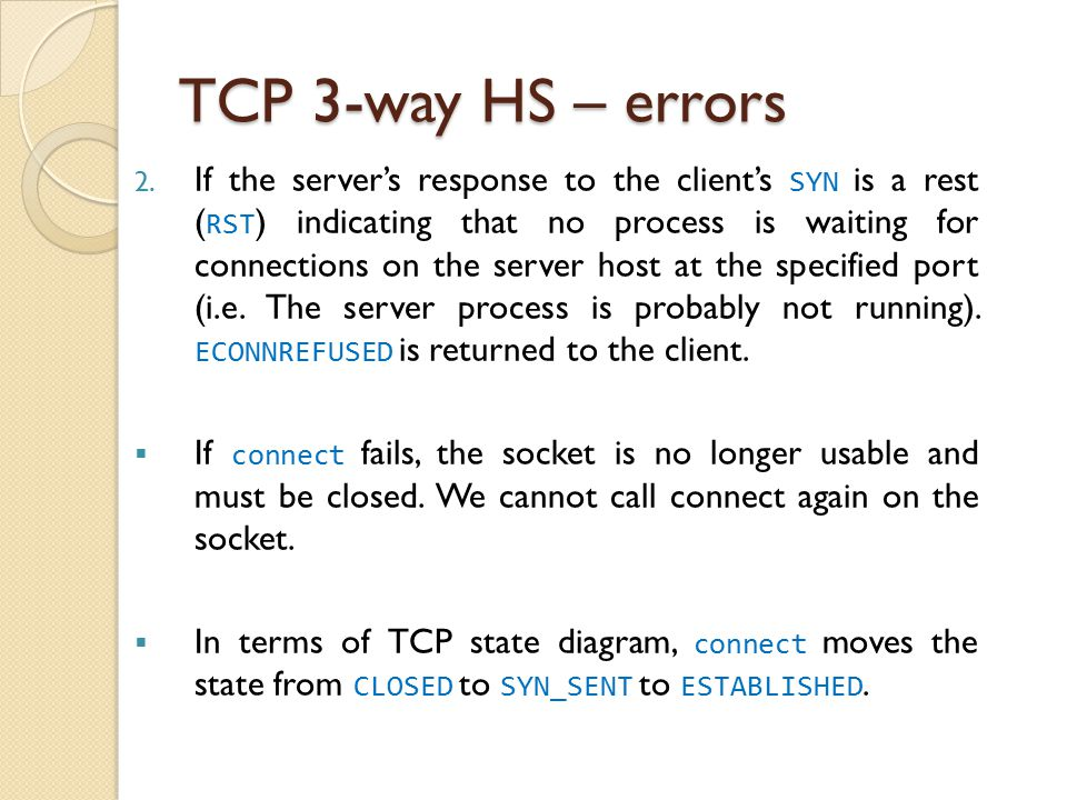 TCP 3-way HS – errors 2.