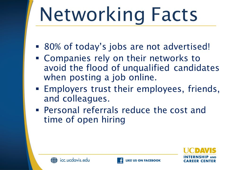 Networking Facts  80% of today's jobs are not advertised.