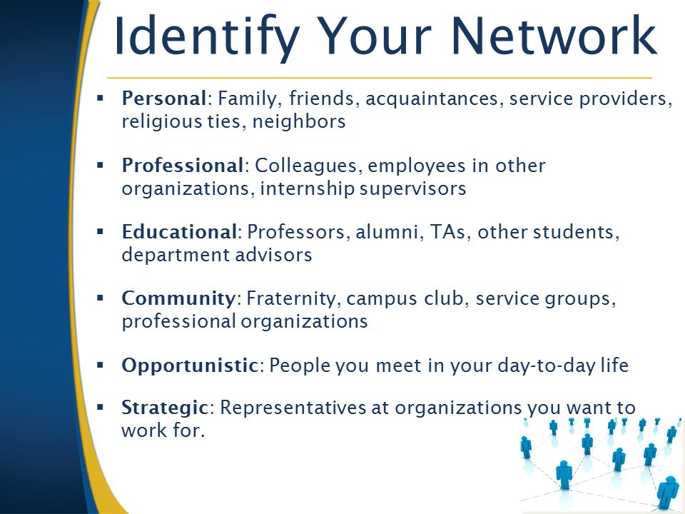 Identify Your Network  Personal: Family, friends, acquaintances, service providers, religious ties, neighbors  Professional: Colleagues, employees in other organizations, internship supervisors  Educational: Professors, alumni, TAs, other students, department advisors  Community: Fraternity, campus club, service groups, professional organizations  Opportunistic: People you meet in your day-to-day life  Strategic: Representatives at organizations you want to work for.