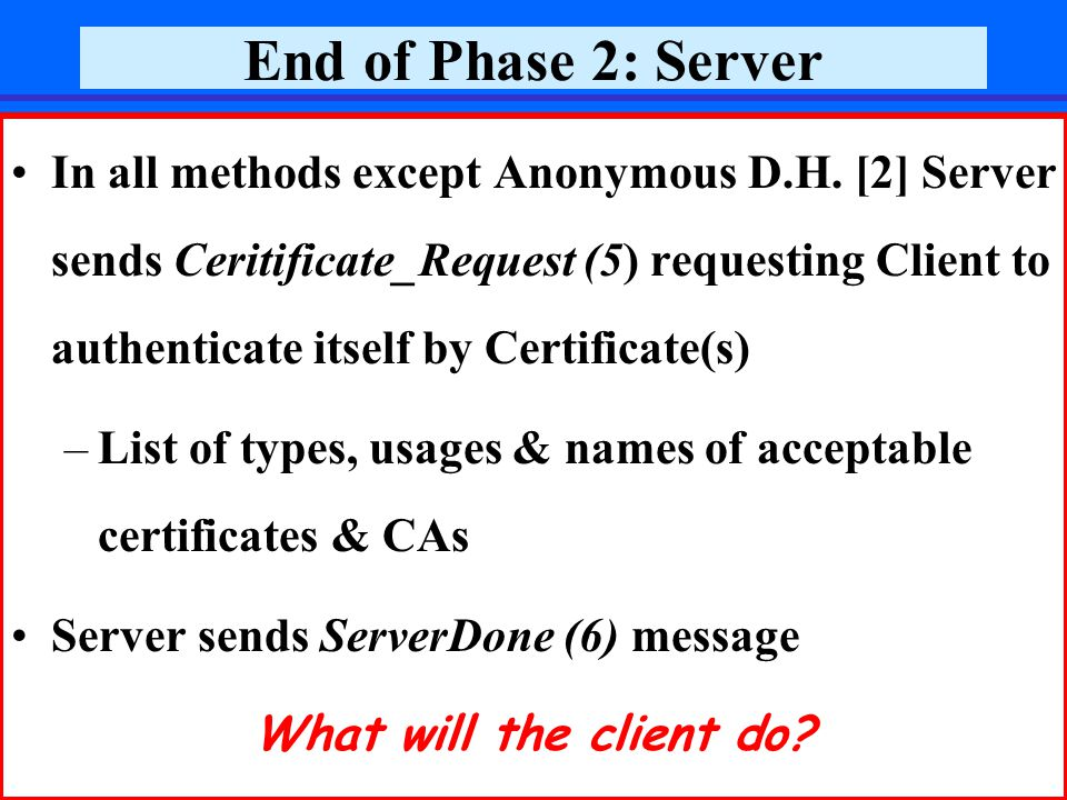 December 2006Prof. Reuven Aviv, SSL33 End of Phase 2: Server In all methods except Anonymous D.H.