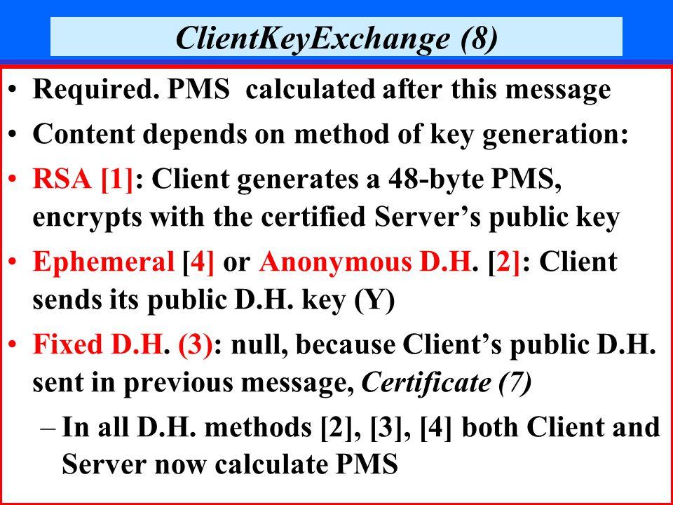December 2006Prof. Reuven Aviv, SSL36 ClientKeyExchange (8) Required.