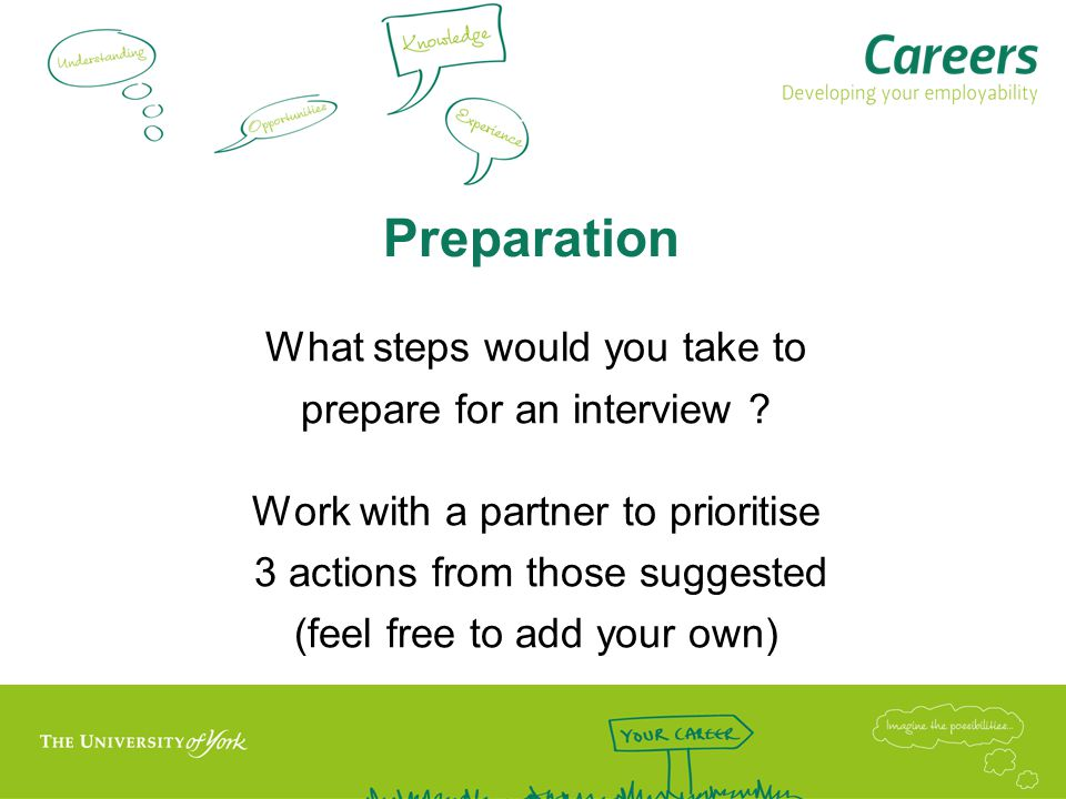 Preparation What steps would you take to prepare for an interview .