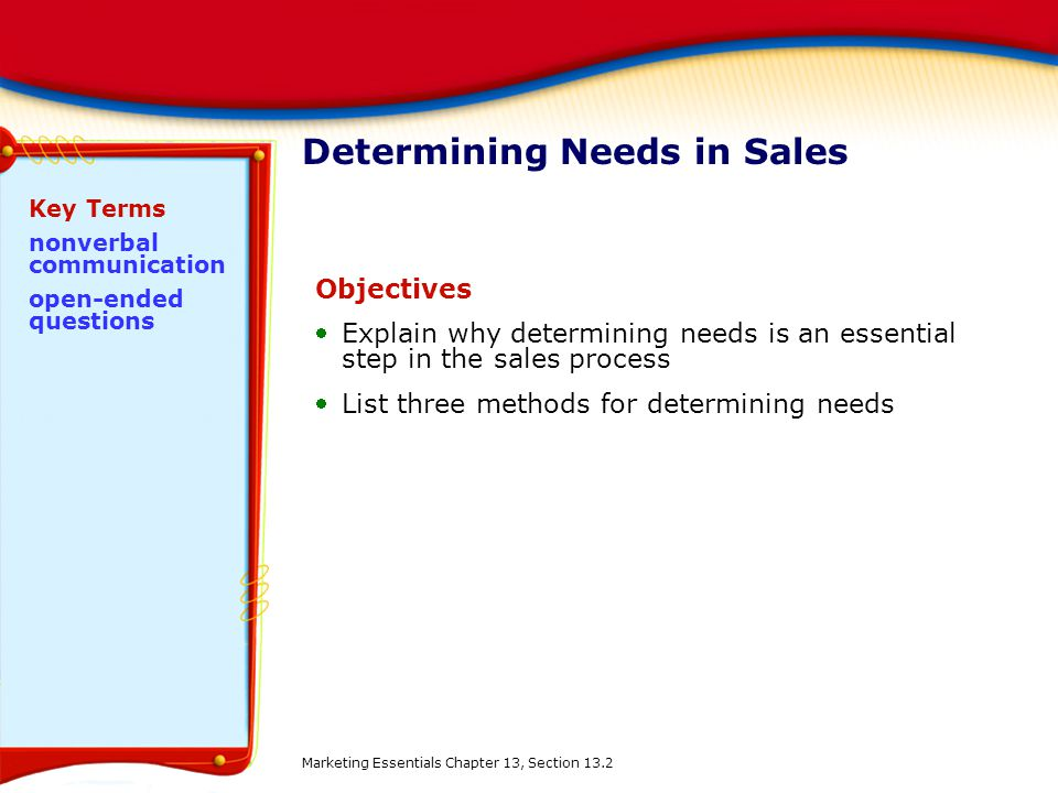 Determining Needs in Sales Objectives Explain why determining needs is an essential step in the sales process List three methods for determining nee