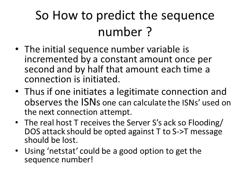 So How to predict the sequence number .