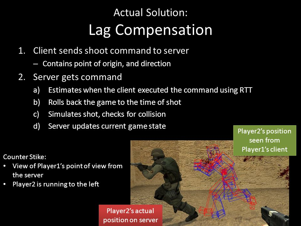 Actual Solution: Lag Compensation 1.Client sends shoot command to server – Contains point of origin, and direction 2.Server gets command a)Estimates when the client executed the command using RTT b)Rolls back the game to the time of shot c)Simulates shot, checks for collision d)Server updates current game state Counter Stike: View of Player1's point of view from the server Player2 is running to the left Player2's actual position on server Player2's position seen from Player1's client