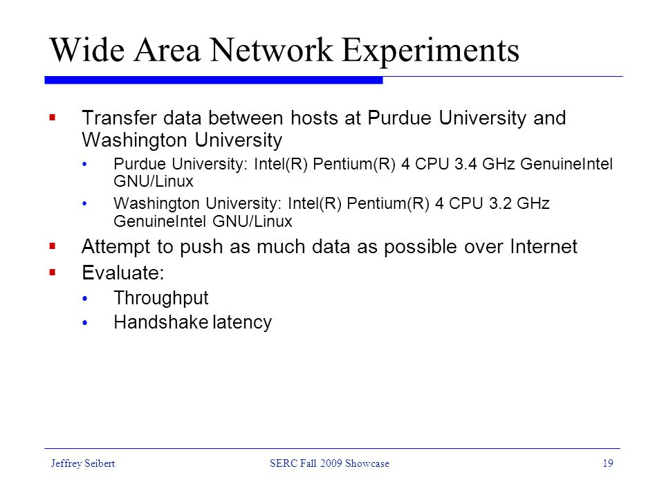 Wide Area Network Experiments  Transfer data between hosts at Purdue University and Washington University Purdue University: Intel(R) Pentium(R) 4 CPU 3.4 GHz GenuineIntel GNU/Linux Washington University: Intel(R) Pentium(R) 4 CPU 3.2 GHz GenuineIntel GNU/Linux  Attempt to push as much data as possible over Internet  Evaluate: Throughput Handshake latency Jeffrey SeibertSERC Fall 2009 Showcase19