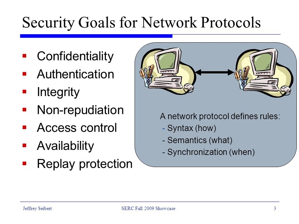 Jeffrey SeibertSERC Fall 2009 Showcase3 Security Goals for Network Protocols  Confidentiality  Authentication  Integrity  Non-repudiation  Access control  Availability  Replay protection A network protocol defines rules: - Syntax (how) - Semantics (what) - Synchronization (when)