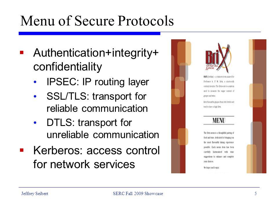 Jeffrey SeibertSERC Fall 2009 Showcase16 Confidentiality and Data Integrity: AES128