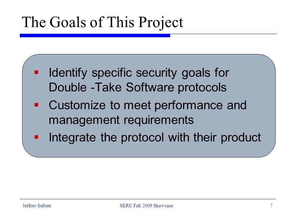Jeffrey SeibertSERC Fall 2009 Showcase8 Customizable Features  Key management  Authentication + integrity  Authentication + integrity + confidentiality