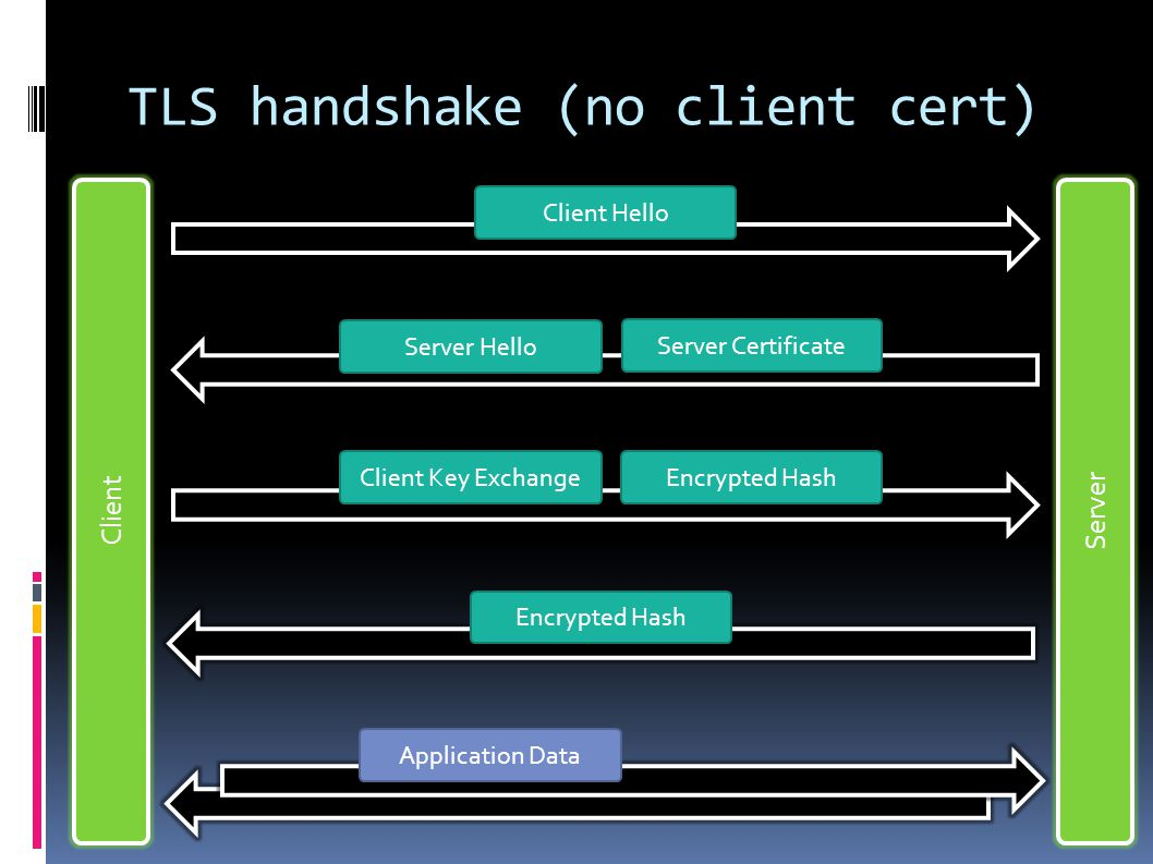 TLS handshake (no client cert) Client Server Client Hello Server Hello Server Certificate Client Key ExchangeEncrypted Hash Application Data