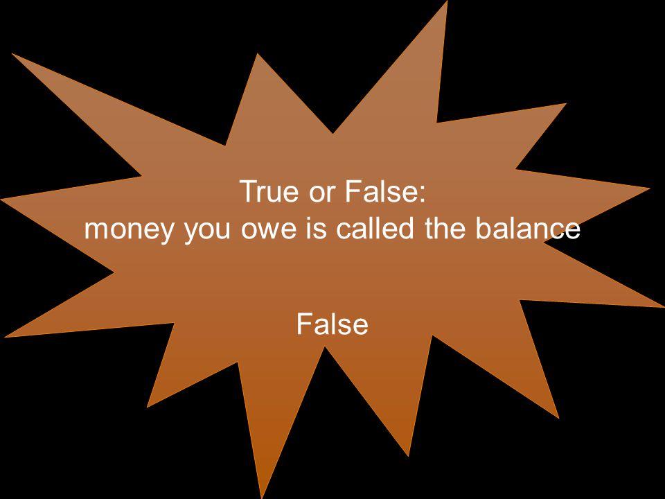 True or False: money you owe is called the balance False