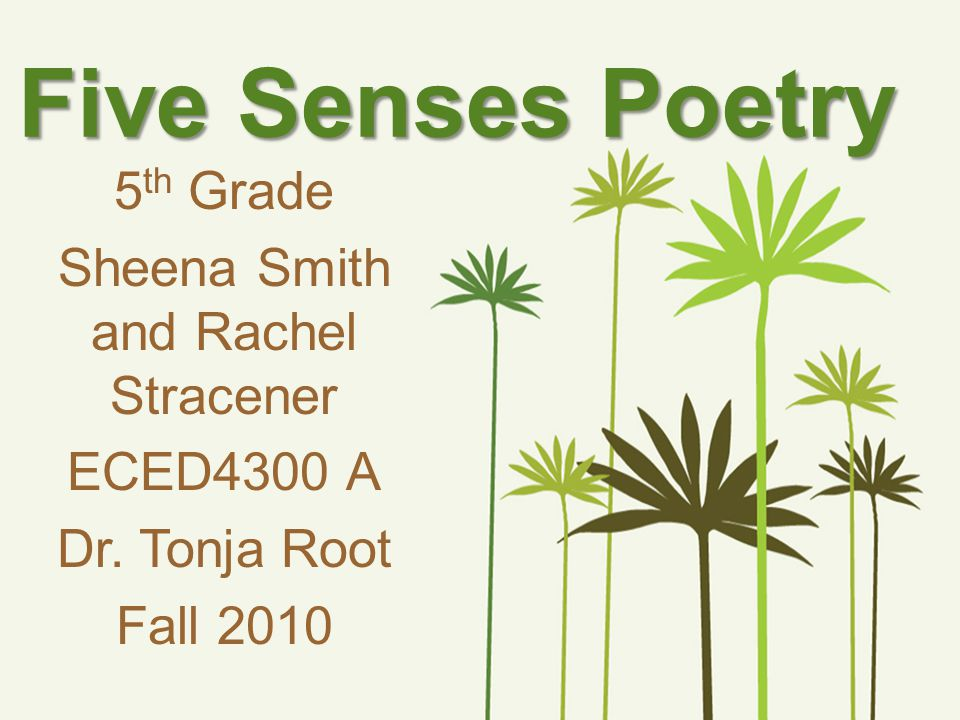 Five Senses Poetry 5 th Grade Sheena Smith and Rachel Stracener ECED4300 A Dr. Tonja Root Fall 2010