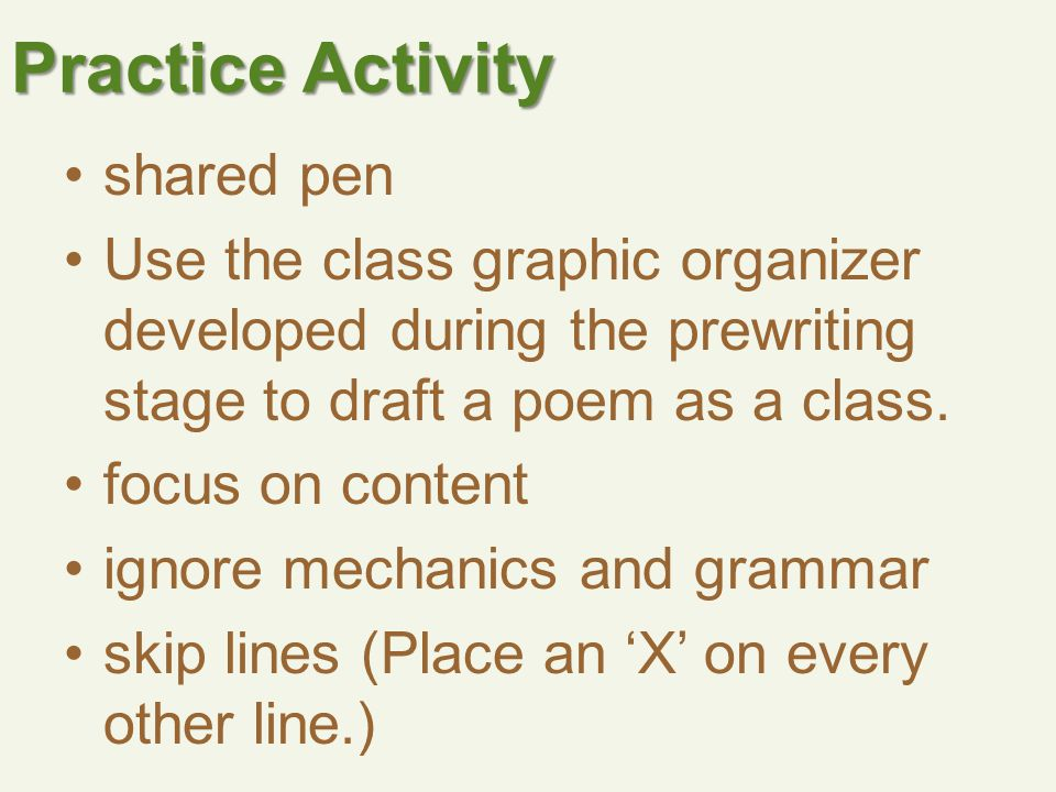 Practice Activity shared pen Use the class graphic organizer developed during the prewriting stage to draft a poem as a class.