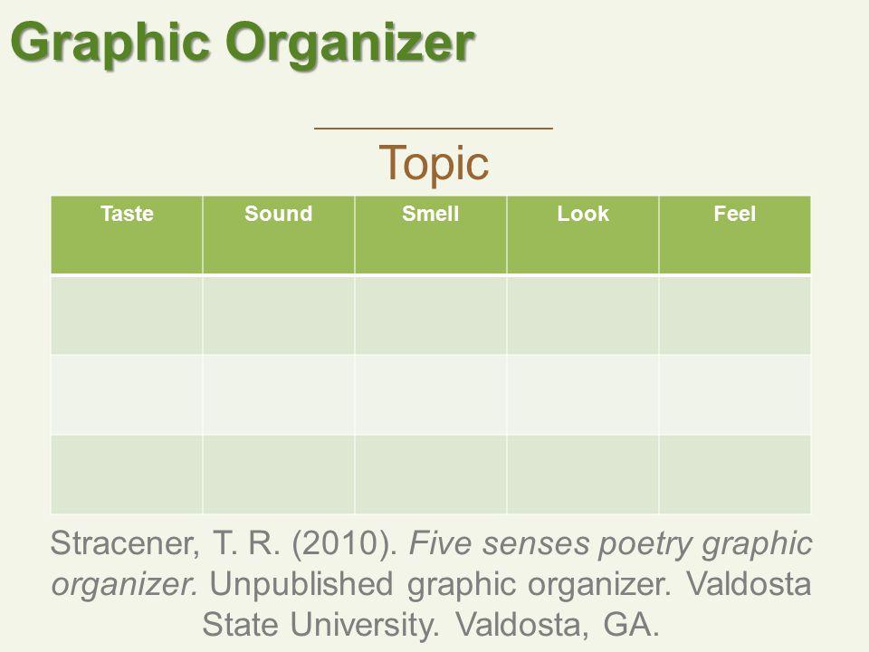 Graphic Organizer TasteSoundSmellLookFeel Stracener, T.
