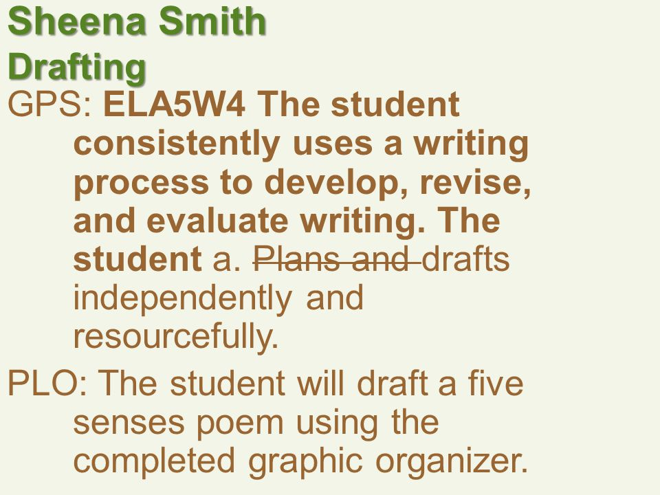 Sheena Smith Drafting GPS: ELA5W4 The student consistently uses a writing process to develop, revise, and evaluate writing.