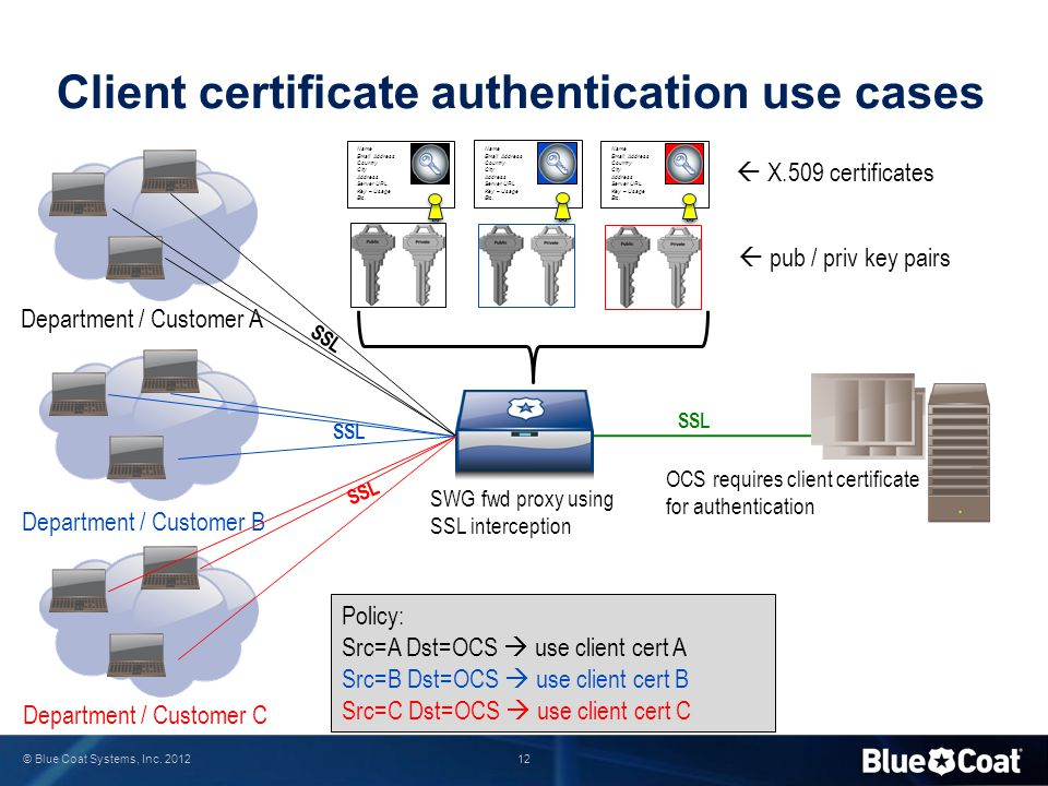 12 © Blue Coat Systems, Inc. 2012 Client certificate authentication use cases Department / Customer A Department / Customer B Department / Customer C