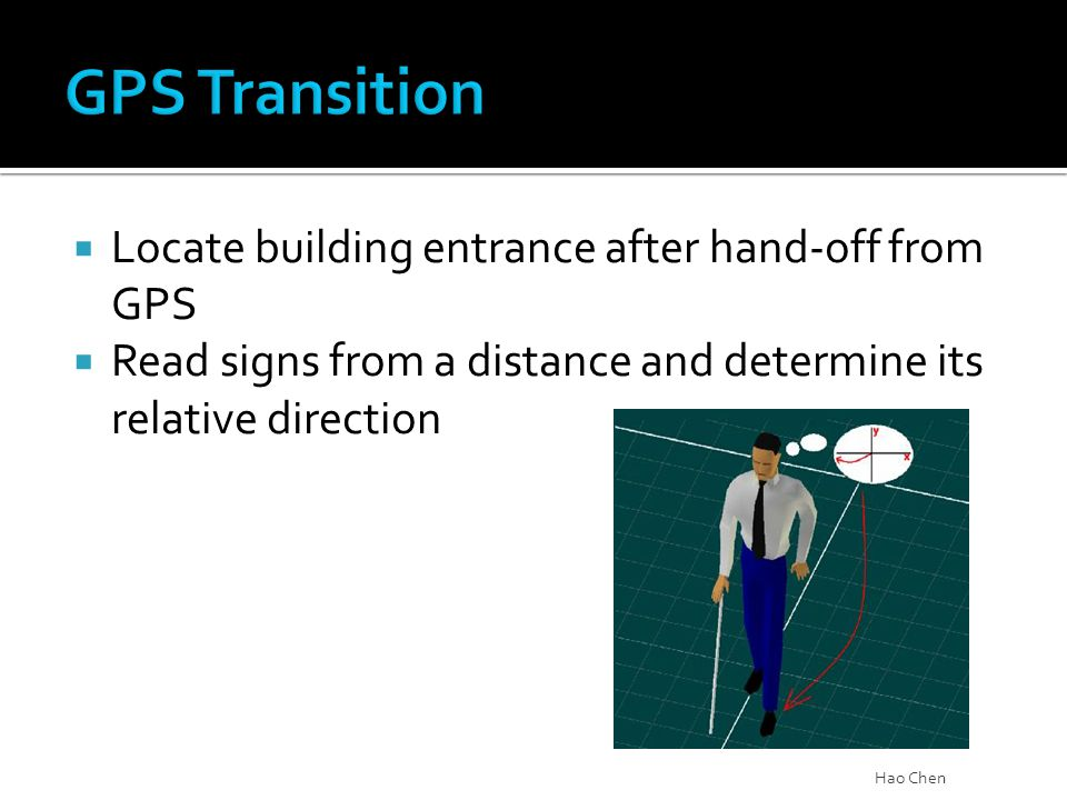  Locate building entrance after hand-off from GPS  Read signs from a distance and determine its relative direction Hao Chen