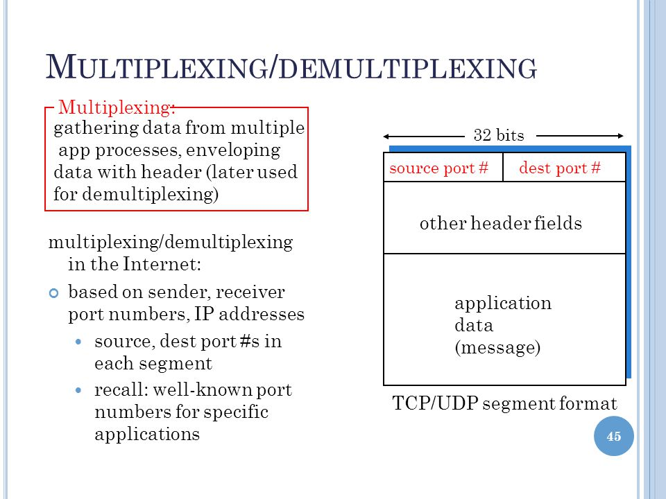 44 M ULTIPLEXING / DEMULTIPLEXING segment - unit of data exchanged between transport layer entities Demultiplexing: delivering received segments to correct app layer processes application transport network M P2 application transport network receiver H t H n segment M application transport network P1 MMM P3 P4 segment header application-layer data How hosts handle more than one session simultaneously sender A sender B