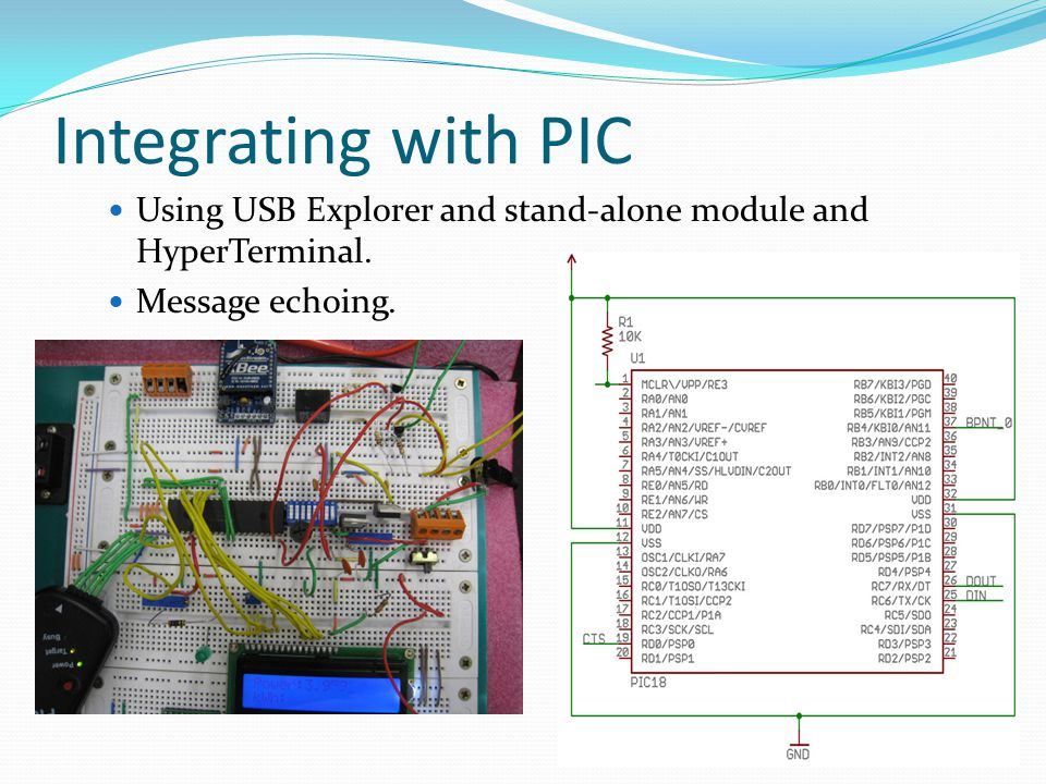 Integrating with PIC Using USB Explorer and stand-alone module and HyperTerminal. Message echoing.