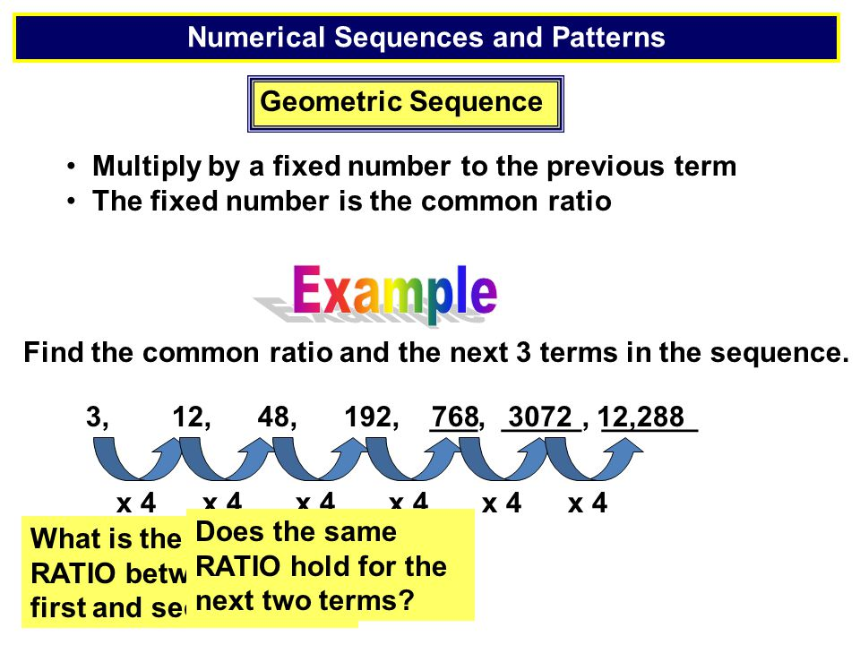 Geometric Sequence 80,20, 5,, ___, ___ What are the next 2 terms in the geometric sequence.