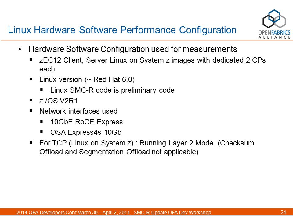 24 2014 OFA Developers Conf March 30 – April 2, 2014SMC-R Update OFA Dev Workshop Linux Hardware Software Performance Configuration Hardware Software