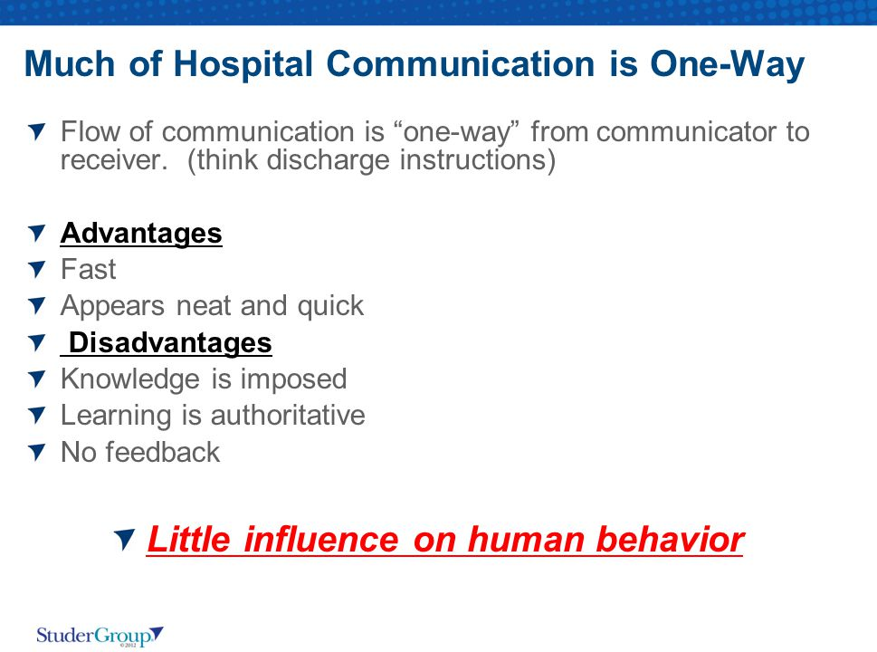 """Flow of communication is """"one-way"""" from communicator to receiver. (think discharge instructions) Advantages Fast Appears neat and quick Disadvantages"""