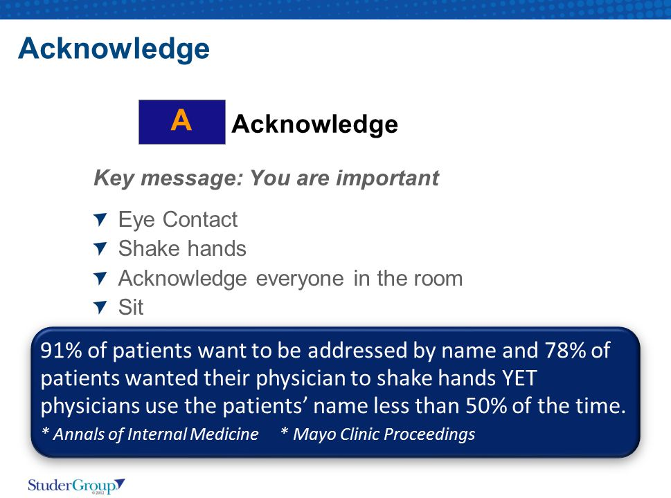 Acknowledge Key message: You are important Eye Contact Shake hands Acknowledge everyone in the room Sit Acknowledge A 91% of patients want to be addre