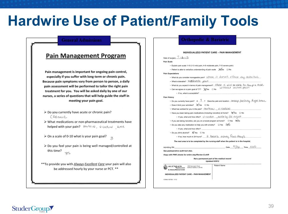 39 General Admissions Orthopedic & Bariatric Hardwire Use of Patient/Family Tools