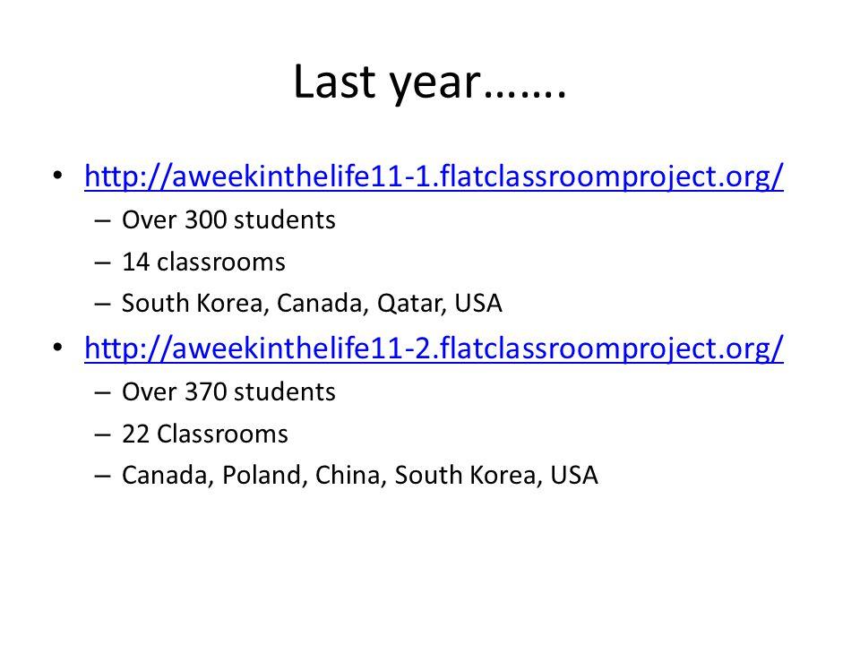 Last year……. http://aweekinthelife11-1.flatclassroomproject.org/ – Over 300 students – 14 classrooms – South Korea, Canada, Qatar, USA http://aweekint