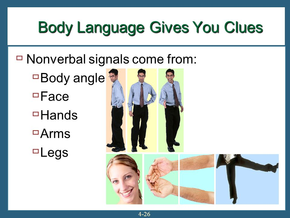 4-26  Nonverbal signals come from:  Body angle  Face  Hands  Arms  Legs Body Language Gives You Clues