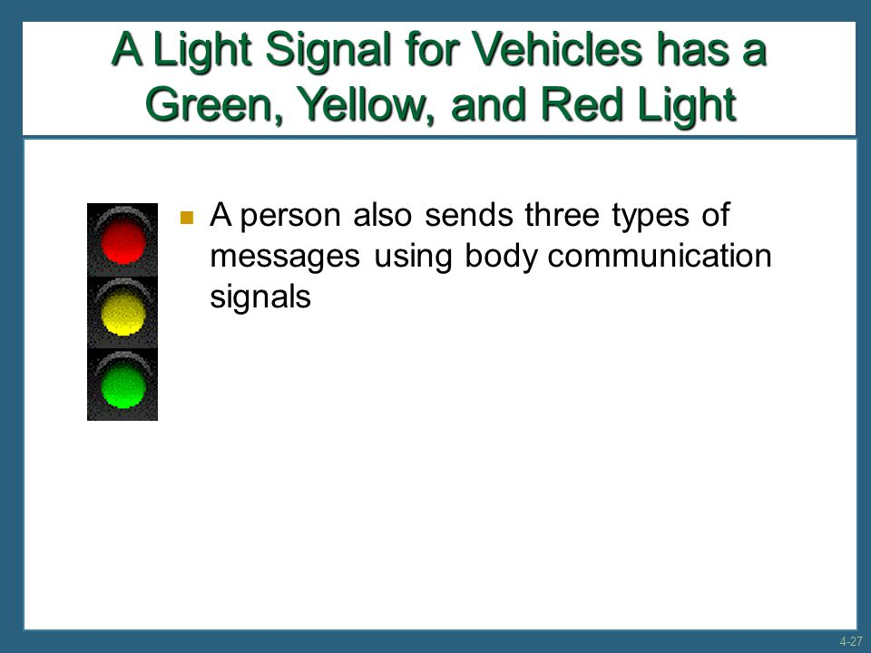 A Light Signal for Vehicles has a Green, Yellow, and Red Light A person also sends three types of messages using body communication signals 4-27