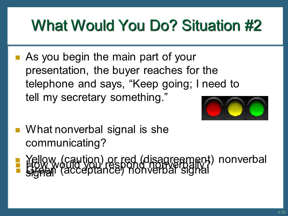 "As you begin the main part of your presentation, the buyer reaches for the telephone and says, ""Keep going; I need to tell my secretary something."" Wh"