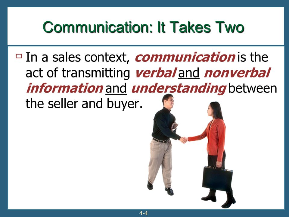4-4  In a sales context, communication is the act of transmitting verbal and nonverbal information and understanding between the seller and buyer.