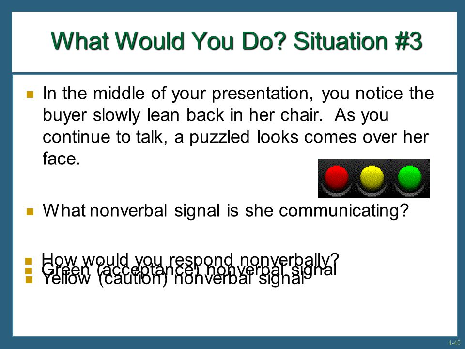 In the middle of your presentation, you notice the buyer slowly lean back in her chair.